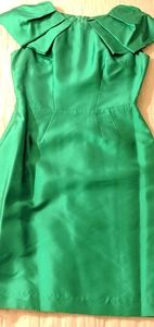 Kelly Green Silk Ruffle Sleeves Cocktail Dress